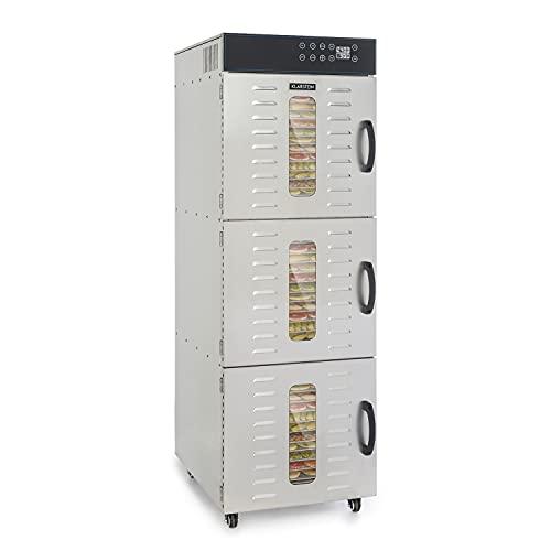 Klarstein Master Jerky 550 Pro deshidratadora profesional - 36 pisos, 2400 W, capacidad de 5,47 m², termostato: 40-90 °C, 180 kg de fruta y verdura, carcasa de acero inoxidable, plateado