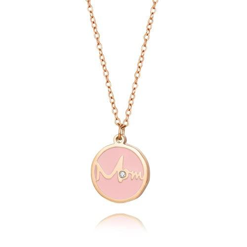 Yaowo Nuevo Collar con Colgante De Diamantes De Oro Rosa Regalo del Día De La Madre Collar De La Madre