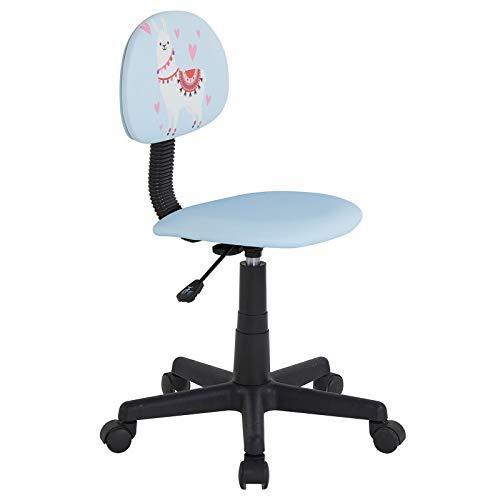 CARO-Möbel Kinderdrehstuhl Alpaca in hellblau mit Lama Motiv Schreibtischstuhl Drehstuhl für Kinder höhenverstellbar