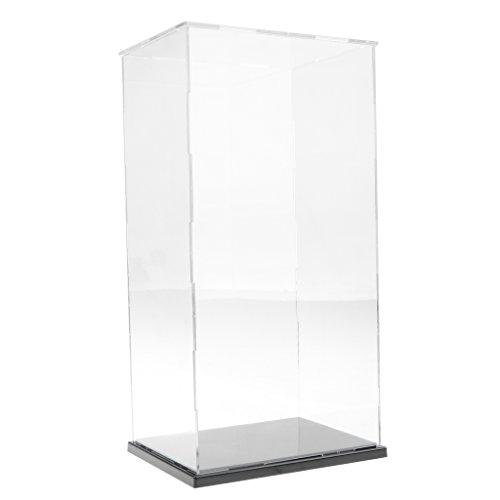 Vitrina de Exhibición Transparente con Base Negro Caja de Exposición para Figuras de Anime Figuritas Estatuas 3D - 19x15x37cm