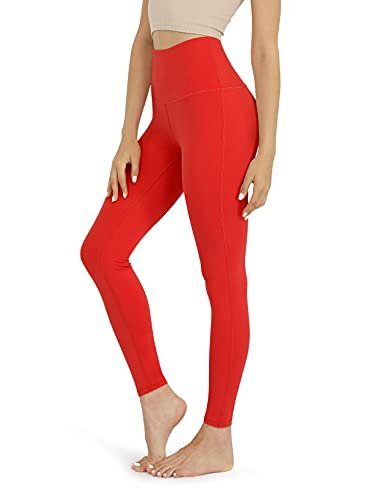 ODODOS Women's High Waist Yoga Leggings, Tummy Control Workout Running Compression Yoga Leggings with Inner Pocket, Red, Small