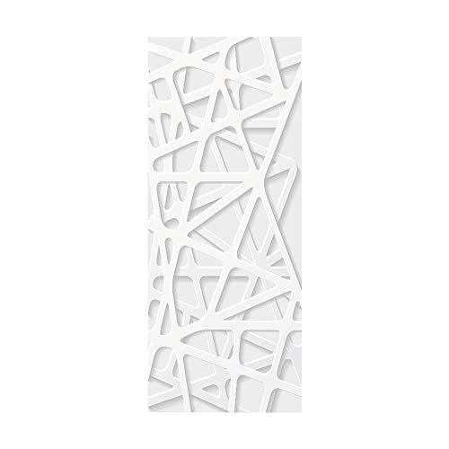Pegatinas de Puerta 3D Decorativas Maderas Interior Baño Autoadhesivo Murales Adhesivos y Pegatinas d e Pared PVC Impermeable Para Cocina Sala 77X200cm-Puerta de rejilla blanca