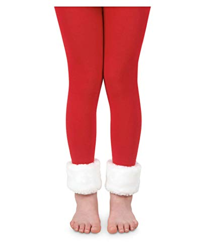 Jefferies Socks Girls Fur Trim Footless Fashion Tights 1 Pack (6-8 years)