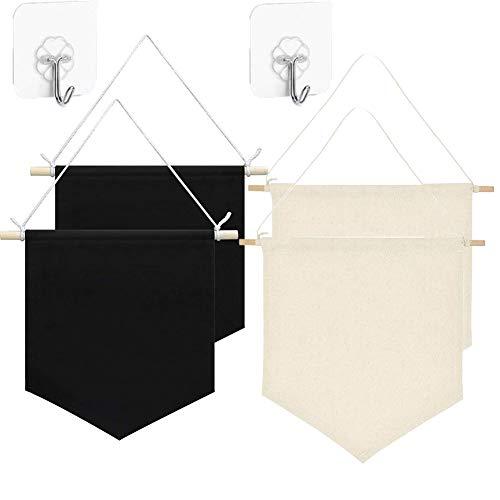 4 banderines de pared en blanco para exhibición, botones y colecciones de etiquetas con 4 ganchos adhesivos