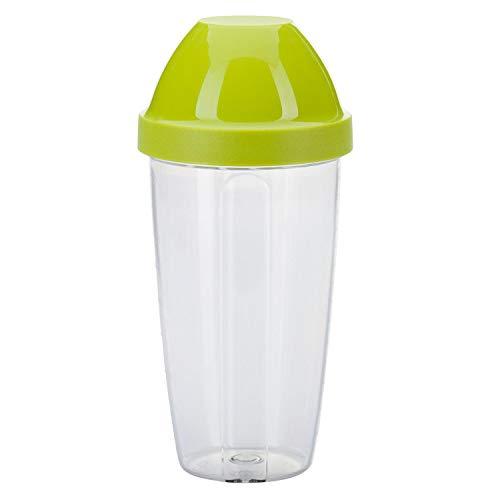 Westmark Mix- und Schüttelbecher/Shaker mit herausnehmbarer Mixscheibe, Fassungsvermögen: 0,5 l, Höhe: 18,7 cm, Kunststoff, BPA-frei, Maxi, Farbe: Klar/Grün, 3090227A