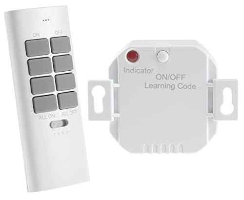 Funk-Schalter Set Funk-Empfänger mit Fernbedienung Handsender Pilota Casa 230V Universal einsetzbar LED bis 300 Watt Bis 70m Reichweite