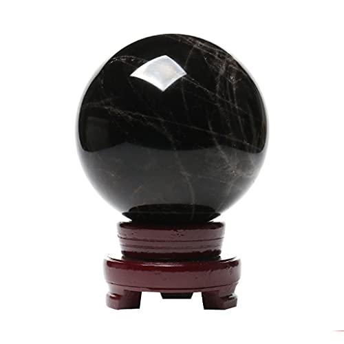 XIAOSAKU Bola de Cristal Exquisito Natural Negro Bola de Cristal Adornos Adornos de Escritorio Sala de Estar Oficina Feng Shui Transferencia Decoraciones para el hogar Bola de Cristal Adivinacion
