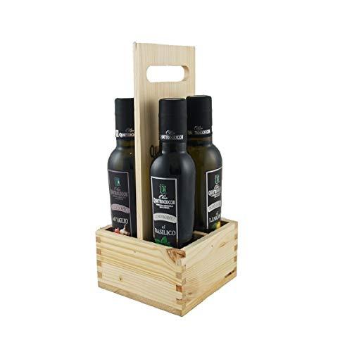 Portaolio 4 Aromatizzati - Quattrociocchi - Lazio - Scatola di legno - x 250 ML - - BIO
