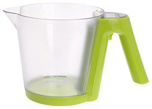 Excellent Houseware - Bilancia Elettronica da Cucina con misurino, 1200 ml, in plastica, Colore: Verde, 12,5 x 14 x 17 cm