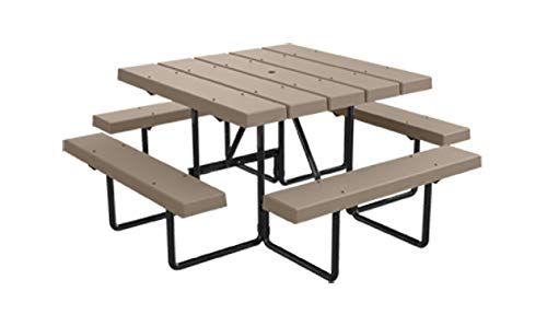 Kirby Built Products 4' Square BarcoBoard Plastic Picnic Table - Seats 8 (Desert Tan)