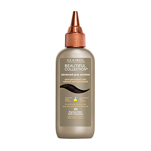 Clairol Professional Beautiful Collection Advanced Gray Hair Solution Semi-Permanent Hair Color, 2N Espresso Bean