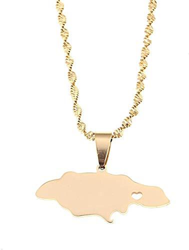 Liuqingzhou Co.,ltd Collar de Acero Inoxidable Mapa de Jamaica Collares Pendientes Mapa de Jamaica Joyería del Encanto del corazón