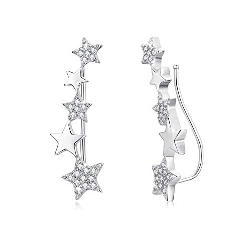 Abrazadera de oreja Pendientes de escalador de estrella de circonita de plata...