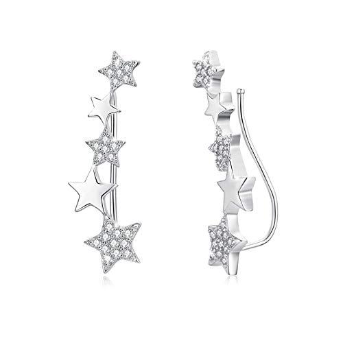 Abrazadera de oreja Pendientes de escalador de estrella de circonita de plata de ley 925 para mujer Pendientes de brazalete de oreja para niñas