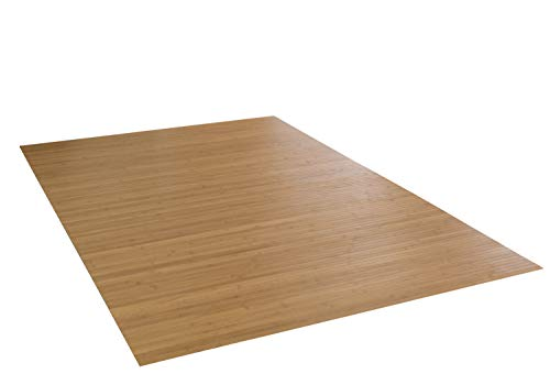 DE-COmmerce Bambusteppich Massive Gold, 100x160 cm, 17mm gehärtete Stege | die Neue Generation Bambusteppich | kein Bordürenteppich | Teppich | Wohnzimmer | Küche Made IN Germany