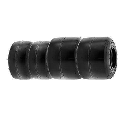 SunF 10x4.5.00-5 & 11x7.10-5 Neumáticos Go Kart, K001, 4 neumáticos delanteros y traseros PR, banda de rodadura lisa, sin cámara, juego de 4