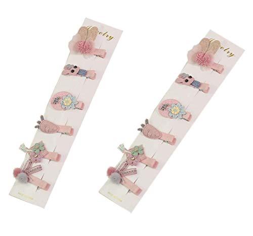 12 pinces à cheveux colorés bande dessinée tissus et dentelle clip mignon en plastique sur le côté de la frange Clip cassé clip accessoire pour bébé enfants filles