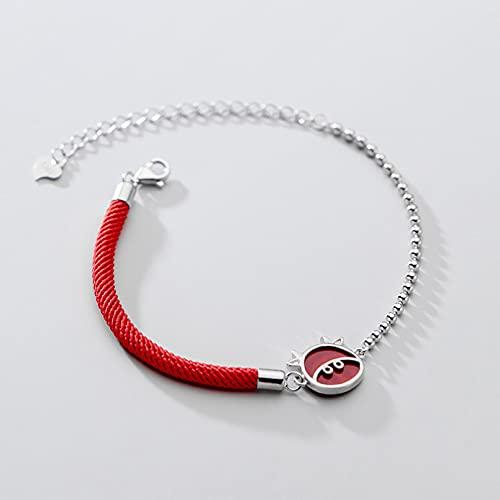 N/A s925 Silver Bracelet Female Fresh Zodiac año del Buey Red String Simple becer Light Bead braceletAniversario Día de la Boda Navidad Día de la Madre Regalo de cumpleaños.
