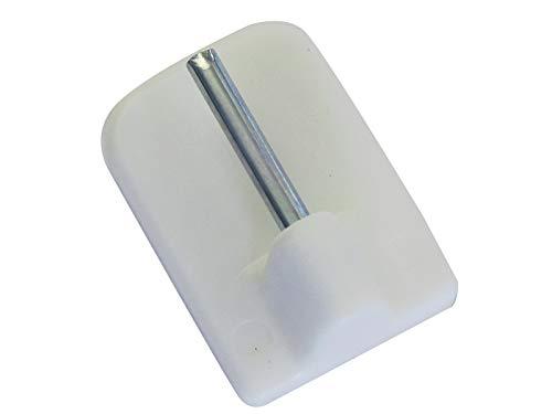 GARDINIA Klebehaken für Vitragestangen, 4 Stück, Mit Stahlstift, Selbstklebend, Höhe: 11 mm, Weiß