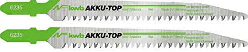 kwb AKKU TOP Stichsäge-Blätter im Zweier-Set zur Holzbearbeitung - Sägeblatt aus HCS Kohlenstoff-Stahl, Länge 116/87 mm - Made in Germany