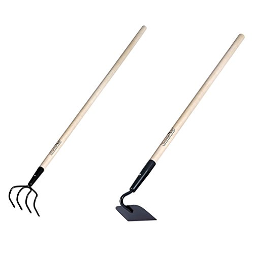 "KYLIN 2 Pieces Garden Tools Set - Include Refuse Hook Cultivator and Forged Garden Hoe with 48"" Hard Wood Handle, by GardenAll"