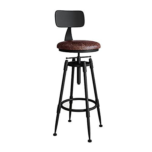 Antique Industrial Design Metal Adjustable Height Kitchen Dining Breakfast Chair Industrial Style Bar Stool Fully Welded,With backrest