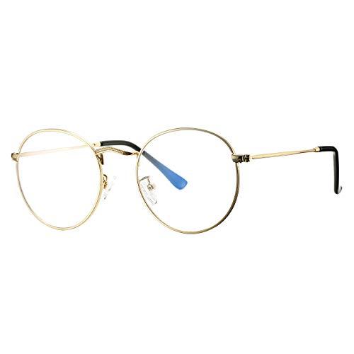 Pro Acme Classic Round Metal Clear Lens Glasses Frame Unisex Circle Eyeglasses (GOLD - BLUE LIGHT FILTER)
