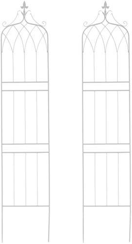 アイアンフェンス ガーデンフェンス トレリスフェンス 2枚セット ホワイト 白 高さ200 おしゃれ アンティーク調 ヨーロピアン調 エレガント クラシカル 重厚感 上下分割可能 ガーデニング (ホワイト, ハイタイプ 2枚組)