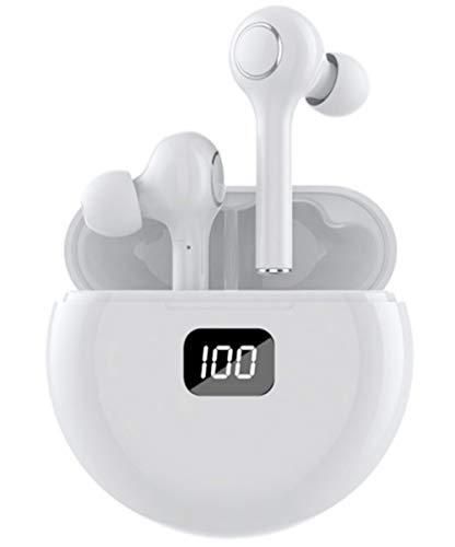 Auriculares inalámbricos Bluetooth 5.0 con cancelación de ruido, micrófono con control táctil con micrófono y pantalla de alimentación para iPhone y Android