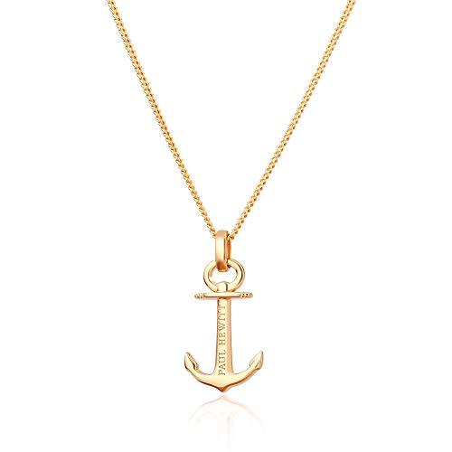 PAUL HEWITT Collana donna in argento 925 dorata Anchor Spirit, Catenina donna di colore oro rosato con ciondolo ad ancora