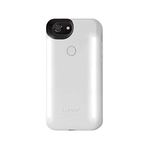 LuMee Duo Selfie Phone Case, White Glossy | Front & Back LED Lighting, Variable Dimmer | Shock Absorption, Bumper Case | iPhone 8 / iPhone 7 / iPhone 6s / iPhone 6 (LD-IP7-WHTGLS)