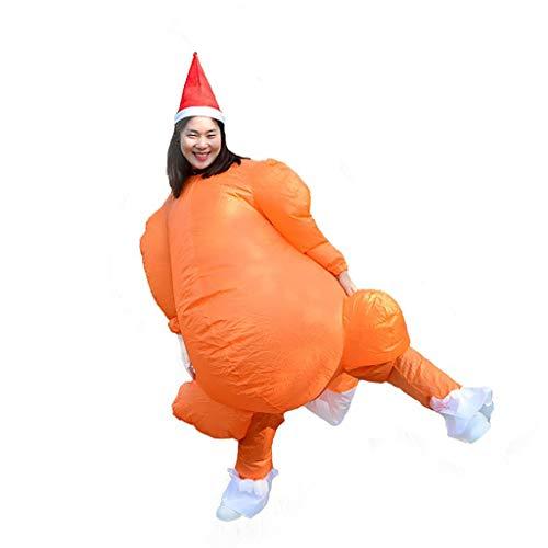 Luccase Truthahn Kostüm mit Gebläse 170cm Polyester Aufblasbare Truthahn Boshaft Kostüm Anzug Erwachsenengröße Lustige Kleidung Thanksgiving Party Spielzeug