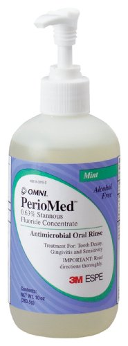 3M ESPE 12105M PerioMed 0.63% Stannous Fluoride Oral Rinse Concentrate Refill, Mint Flavor, 10 oz. Bottle with Pump