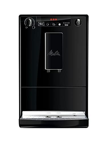Melitta Caffeo Solo E950-222 Cafetera Superautomática con Molinillo, 15 Bares, Café en Grano para Espresso, Limpieza Automática, Personalizable, Pure Black
