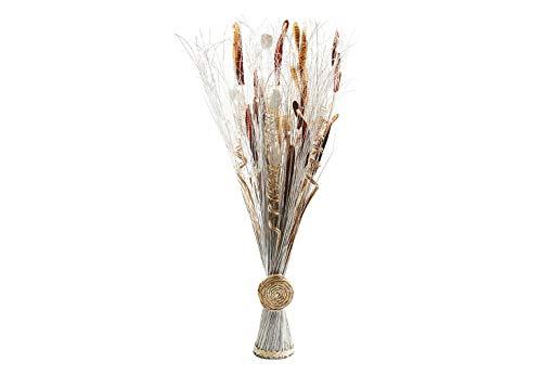 Kobolo Deko-Bündel aus Kunstblumen und Naturfasern weiß braun Handarbeit 100 cm