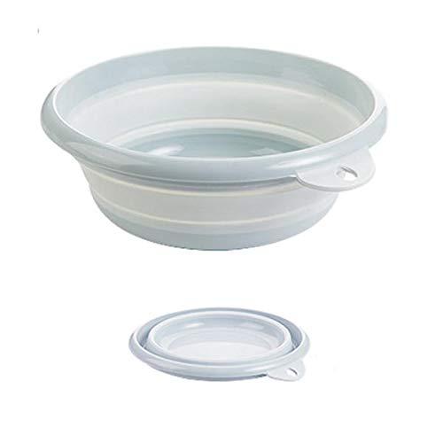 ZZFF Lavabo plegable para lavadero exterior, para acampar, cubeta de agua portátil, de plástico, para lavadora, de pie, color azul