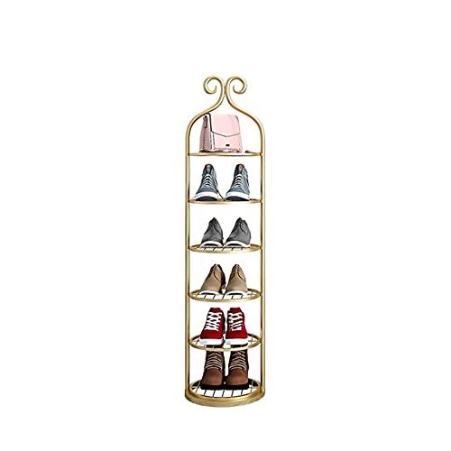 FOLA Zapatero Multi-Capa Hierro Zapato Rack Americano Lujo Estrecho Zapato Almacenamiento Simple Home Door Pequeño Zapato Zapato Estante de Zapato Económico Zapatera (Color : Gold, tamaño : 6 Tier)