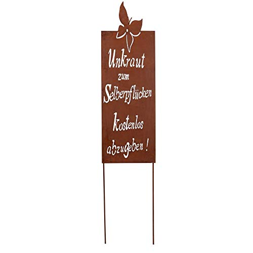 RM Design Gartendeko Gartenstecker aus Edelrost Metall Garten Schild mit Spruch Unkraut 66x22 cm