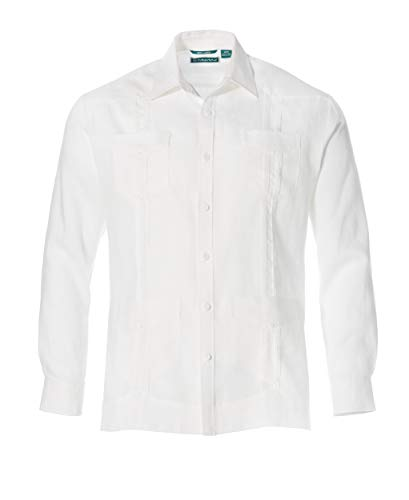 Cubavera Men's Long Sleeve 100% Linen Guayabera Shirt, Bright White, X-Large