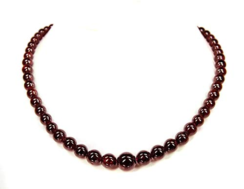 Schöne Halskette aus dem Edelstein Granat in Kugelform und verschiedenen Größen