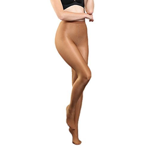 Metelam Womens Shiny Tights 70 Denier Footed Pantyhose (Coffee)