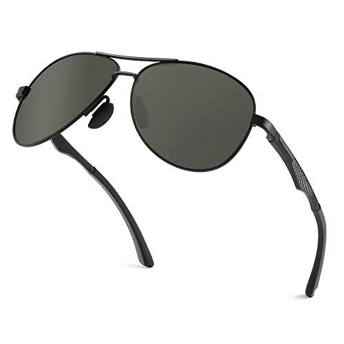 GQUEEN Piloten Sonnenbrille Herren Pilotenbrille Herren Polarisiert Pilot Flieger MOS1