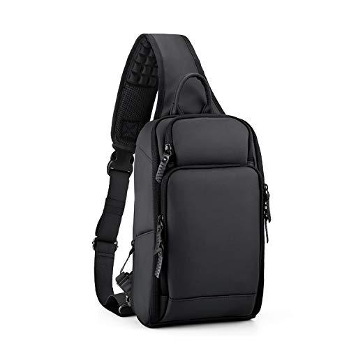 FANDARE Monospalla Uomo Zaino Monospalla Borsello da Uomo 7.9 inch Tablet con USB Borsa a Tracolla Grande Capacità Borsa Sportiva Sling Bag Ciclismo/viaggio Impermeabile Poliestere Nero