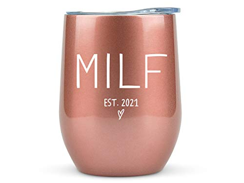New Mom Gifts 2021 MILF - 12oz Wine/Coffee Tumbler/Mug - Funny Gift Idea for First Time Mom, Women, Basket, Mommy, Pregnancy, Push, Baby Shower Gifts, Glass, Mom to Be, Mothers Day