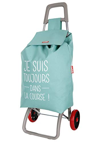 Caddie Serina Poussette de marché Chariot de Course Pliable 2 Roues 50 litres Sac imperméable Lavable Couleur Verte