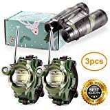 Petask Kids Walkie Talkies and Binoculars for Kids - Outdoor Toys Two-Way Radios Walky Talky for Children, Cool Outdoor Walkie Talkie Kit for Boys and Girls + Kids Binoculars, Camouflage
