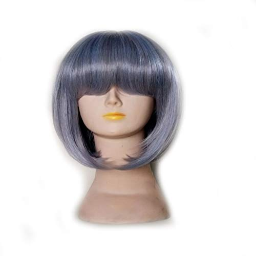 Der Femmes Cheveux Synthétiques Perruque Cosplay Coiffure Droite Courte 10 Couleurs Disponibles (Color : Dark Grey, Stretched Length : 12inches)