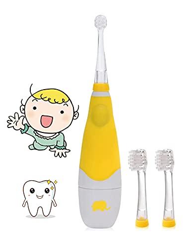 Brosse a Dent Bebe, Seago Electric Toothbrush 0-3 ans Brosse à Dent électrique Enfant Avec Lampe à LED intelligente, Timer 2 minutes, 30 Secondes Pour Rappeler (Jaune)