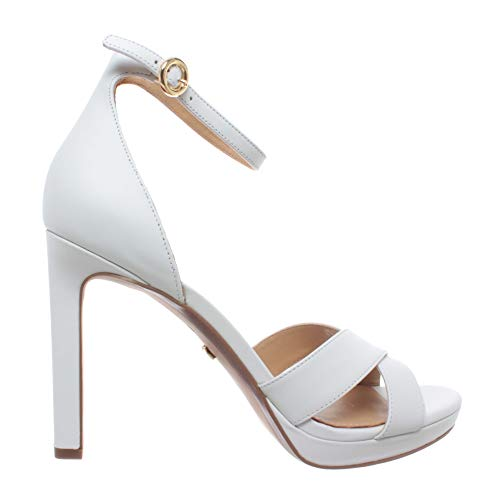 Michael Kors Damen Schuhe Sandalen Pumps Alexia Sandal Leather Optic White Leder