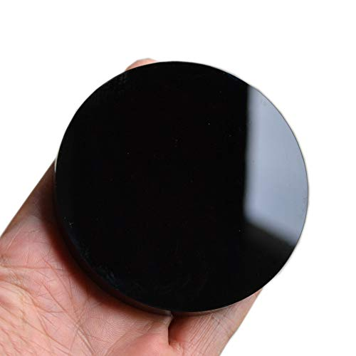 FHNP367 Black Obsidian Scrying Mirror Round Smooth Natural Crystal Polished Diameter 3 inch / 80mm
